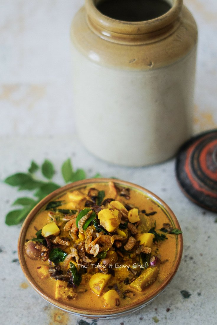 Jackfruit Seeds Curry cooked with Raw Mango and Dry Prawns (Shrimp)