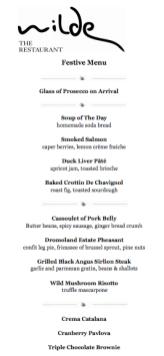 Westbury - Wilde Restaurant Festive Menu