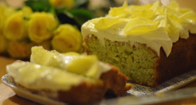 Courgette, Lemon and Elderflower Drizzle Cake by Bridget Harney