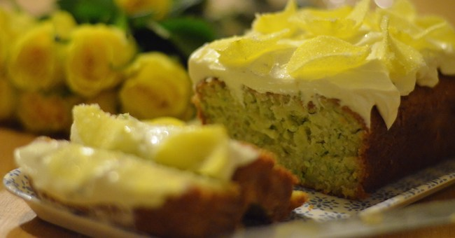 Courgette, Lemon and Elderflower Drizzle Cake by Bridget Harney