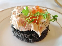 Salmon, Trout Caviar and Squid Ink Bread