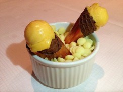 Apricot Sorbet in Waffle Cone
