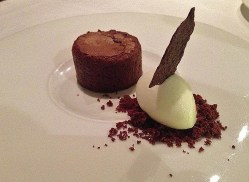 Chocolate Fondant, Milk Sorbet, Tuille