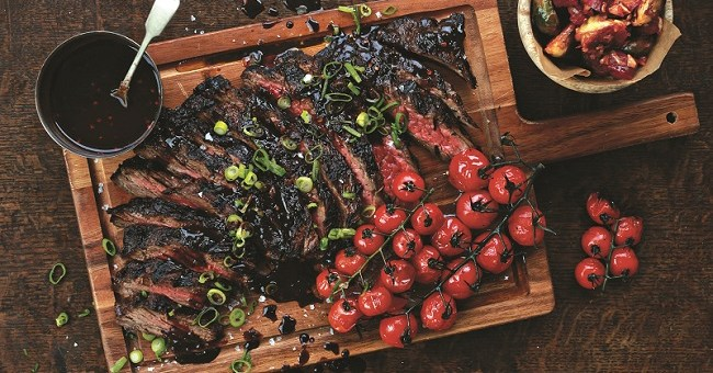 Port-Marinated Skirt Steak With Roasted Grape Tomatoes Recipe by Chef Stuart O'Keeffe