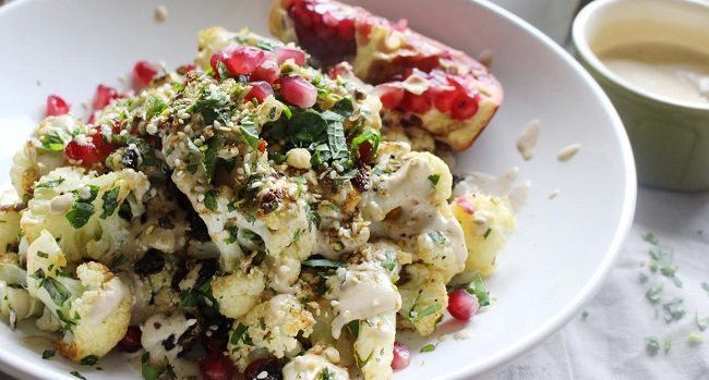 Roast Cauliflower Recipe with Tahini Dressing by The Honest Project
