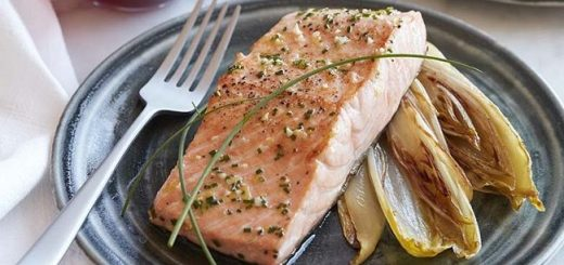 Pan Roasted Salmon Recipe with Caramelized Endive from California Wines