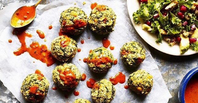 Spinach Falafels with Coconut Harissa Sauce and Zingy Kale Salad Recipe from Mindful Chef