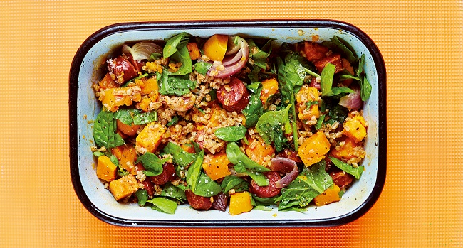 Spelt Recipe with Chorizo, Sweet Potato, Red Onion & Spinach