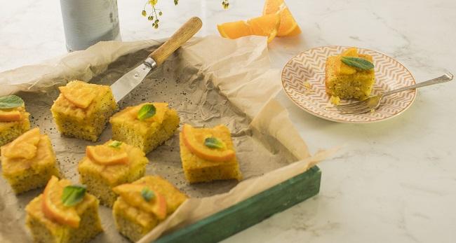 Siucra x Catherine Fulvio Orange, Poppy and Polenta Drizzle Squares Recipe