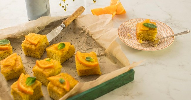 Siucra x Catherine Fulvio Orange, Poppy and Polenta Drizzle Squares Recipe