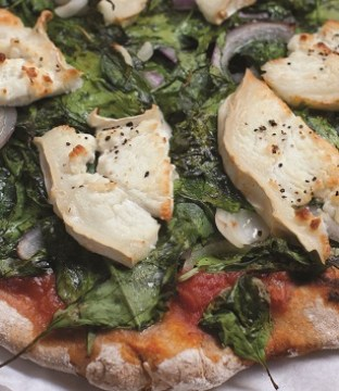 Spinach, Red Onion and Goat's Cheese Pizza Recipe from Blazing Salads