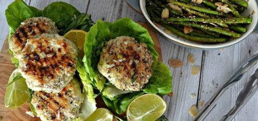 Chicken and Tarragon Burgers Recipe with Sumac Grilled Asparagus from The Flourishing Pantry