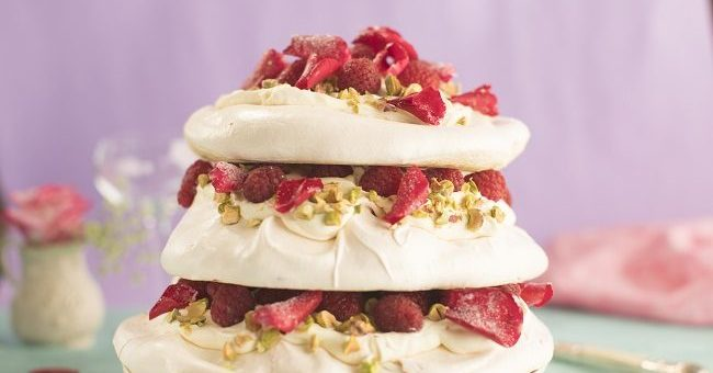 Siúcra & Catherine Fulvio Pistachio Raspberry & Rosewater Meringue Tower Recipe