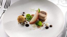 Starter - Duck Liver & Confit Leg Terrine - Poached Pear, Prune & Pan de Epice druids glen