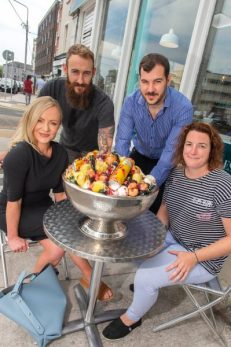 Katie Mythen Lynch, Johnny Lynch, Ernest Cantillon, and Eimear McCarthy from FSTVLR (l-r), launching #DessertFSTVL with Casanova Gelato's 13lb Jägermeister gelato sundae, made with tropical fruit punch and decorated with deep fried plums and mini bottles of the ultra-boozy digestif.