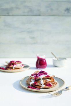 Berry & coconut cream pancakes