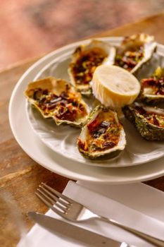Cliff Grilled Oysters with bacon and parmesan- Sean Smith