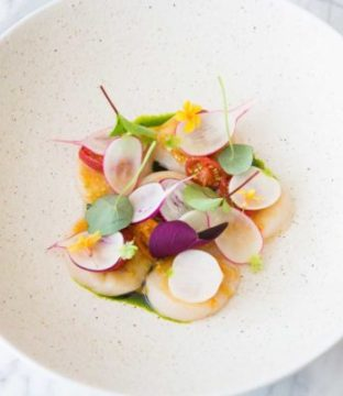 Scallop, Tomato, Radish, Dill Recipe by Chef Andy McFadden of Glovers Alley Restaurant