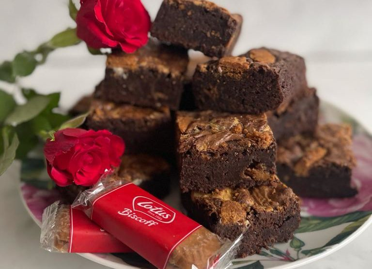 Lotus Biscoff Chocolate Brownies Recipe by Joanne Eve