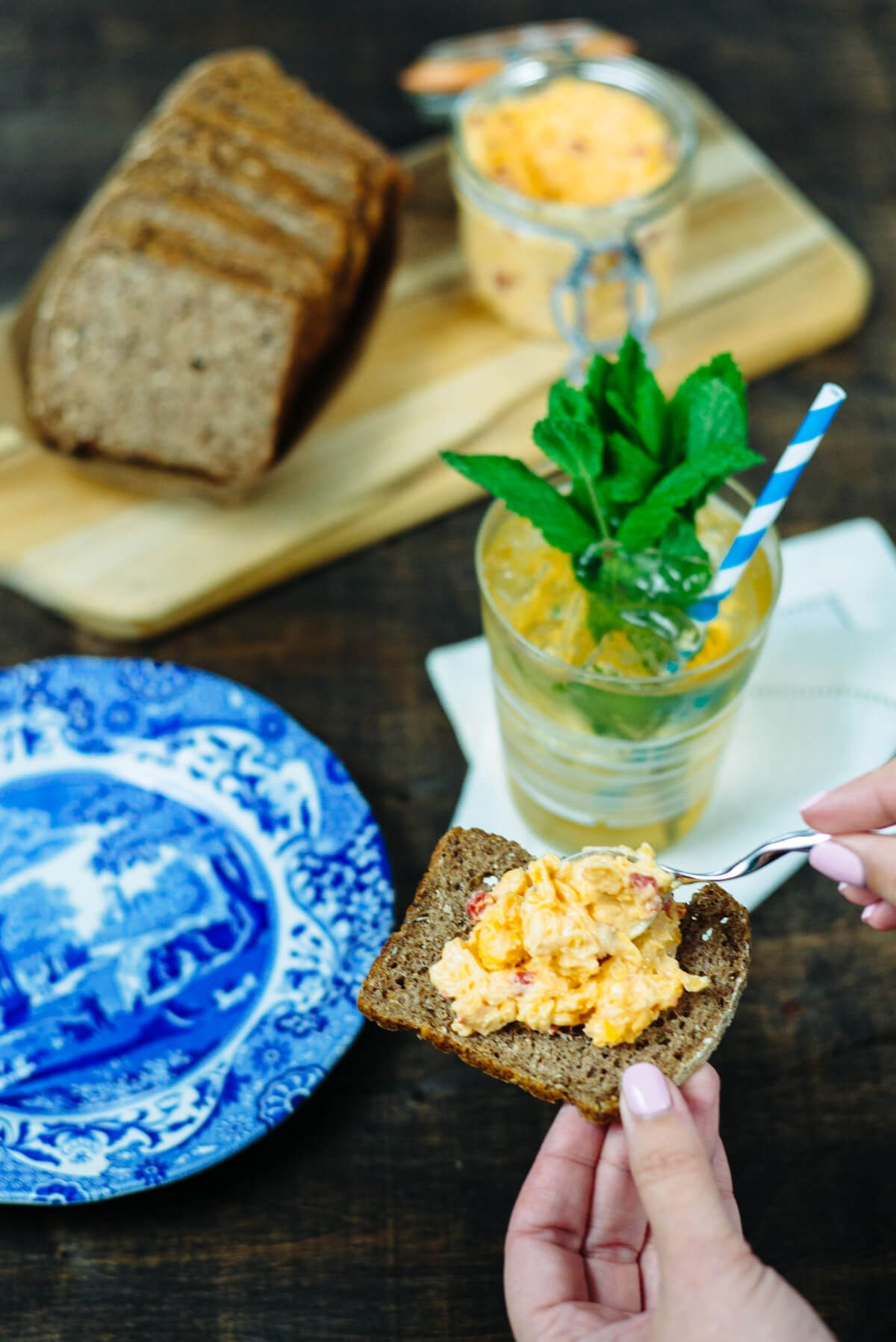 mint juleps can be served in modern glasses and served with pimento cheese for the Kentucky Derby