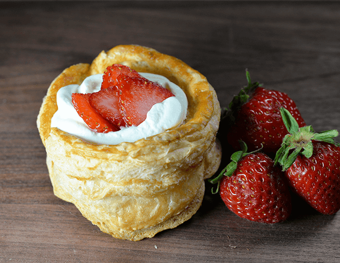 strawberry vol-au-vent dessert