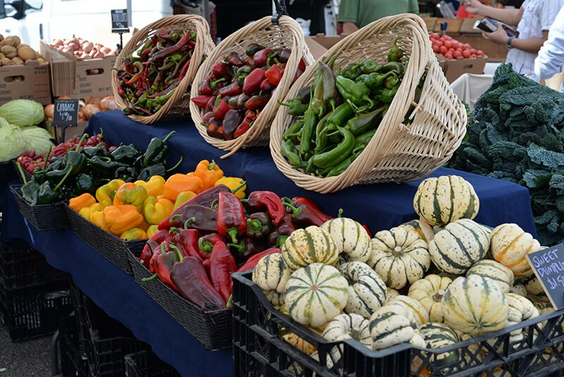 cuesa farmers market squash and peppers