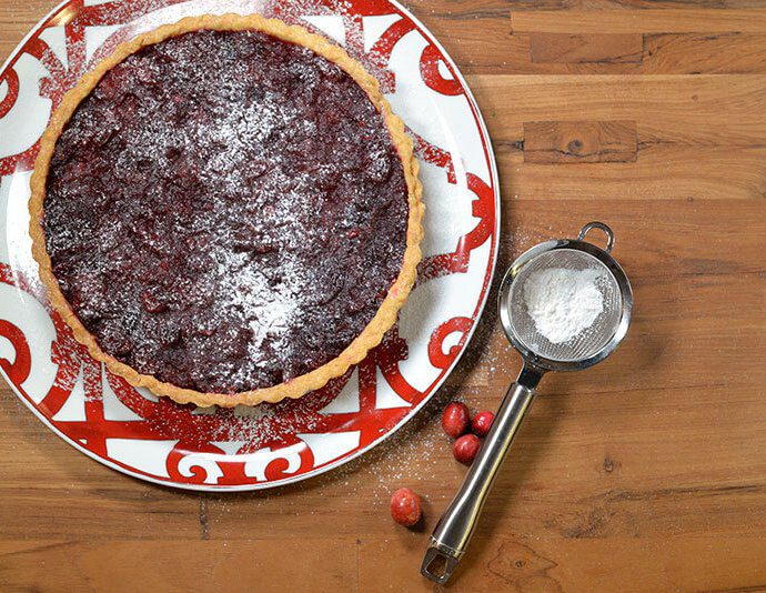 simple cranberry tart on hermes platter