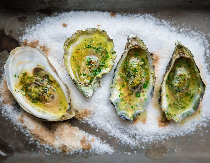 grilled oysters with herbed butter