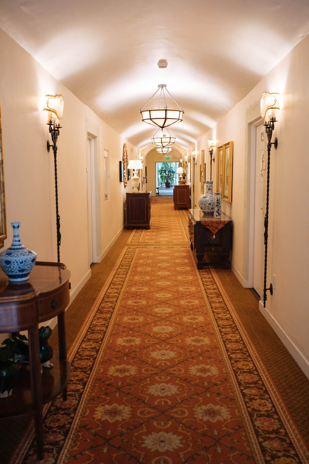 Hallway to the historic rooms at The Four Seasons Biltmore Santa Barbara