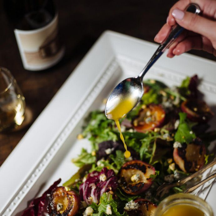 Dressing The Taste SF's grilled stone fruit salad paired with crawford family winery