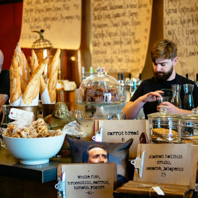 The counter at Industrial Eats with owner Jeff Olsson