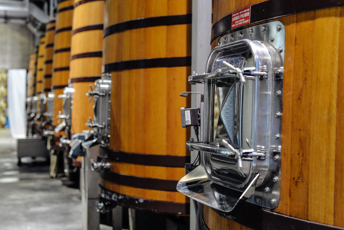 Red wine tanks up close at Quintessa Winery from The Taste SF