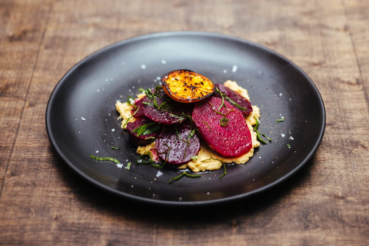 The Taste SF makes Roasted beets with grilled tangerine and garlic hummus