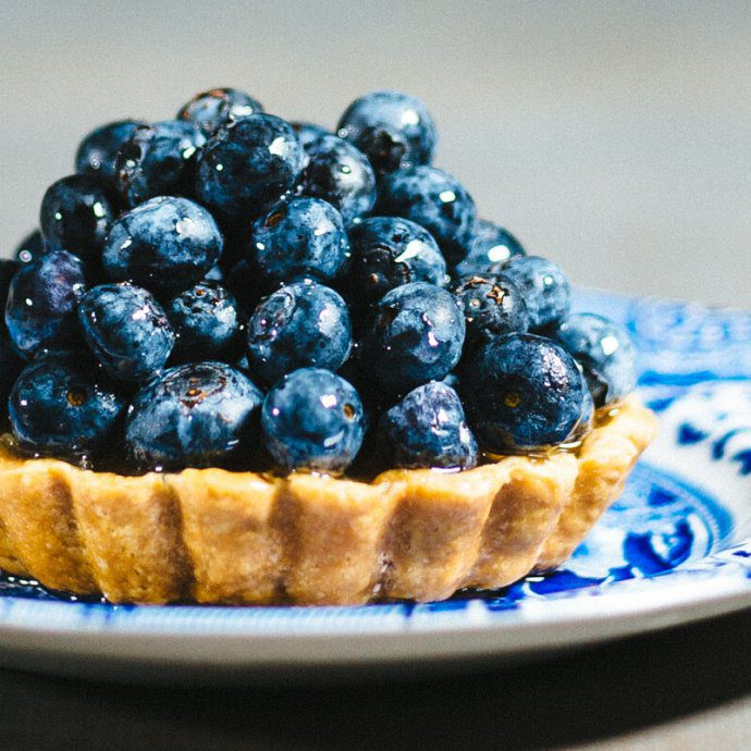 The Taste SF created a seasonal fruit tart with blueberries and pastry cream in a TK all-clad saucier.