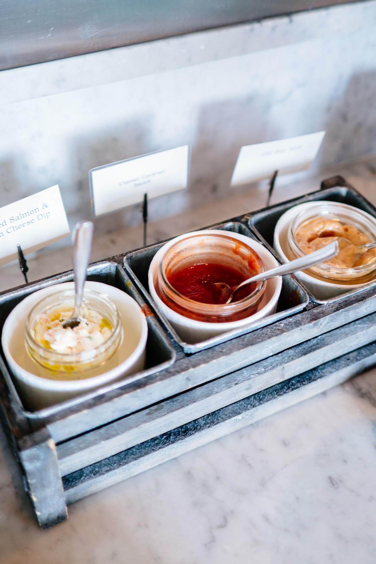Sauces at the Raw Bar at Saturday Farmers Market Brunch at Navio The Ritz-Carlton Half Moon Bay