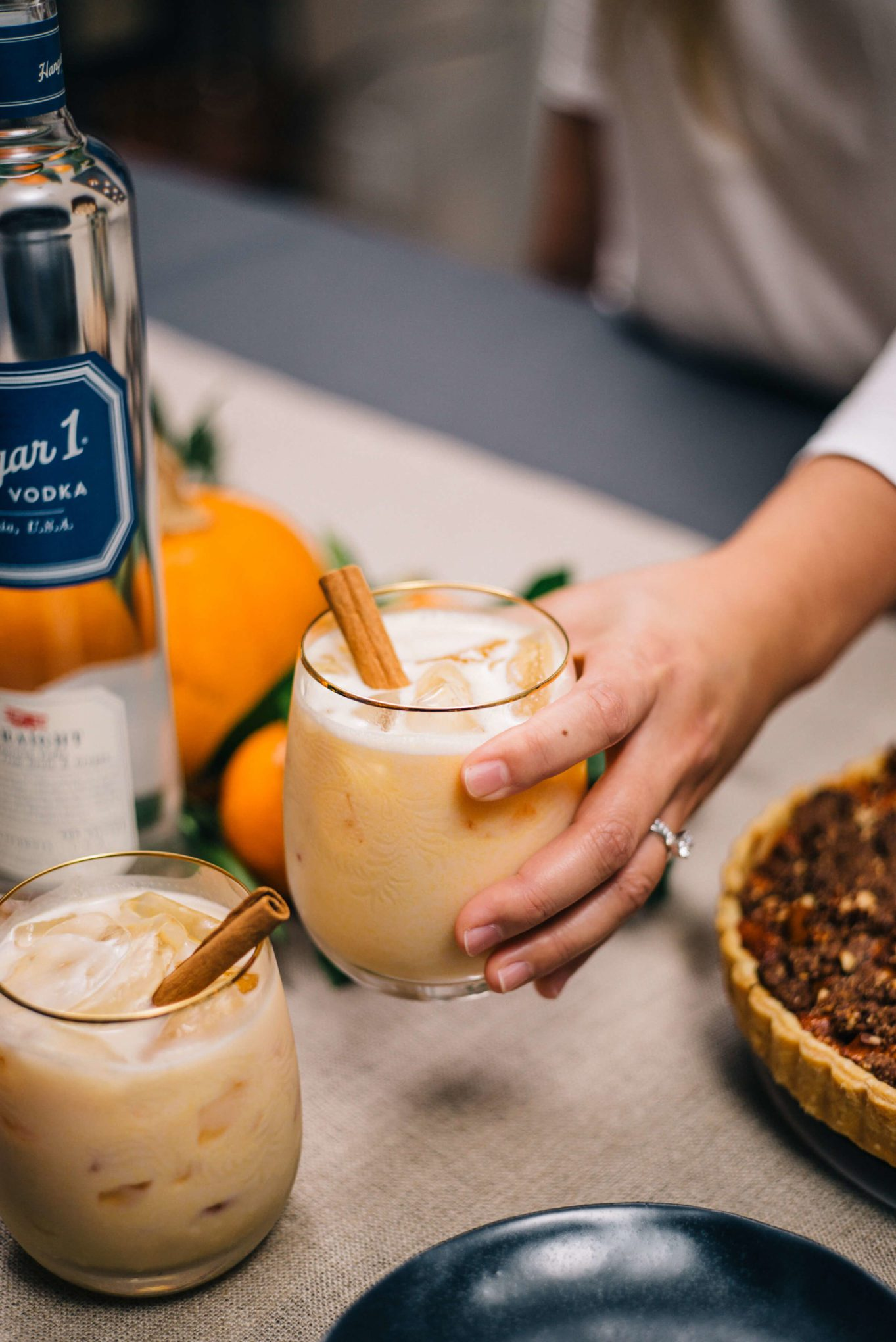 Pumpkin Cocktail, a pumpkin vodka cocktail, is the perfect Friendsgiving or Thanksgiving cocktail made with Hangar 1 Vodka made by The Taste SF