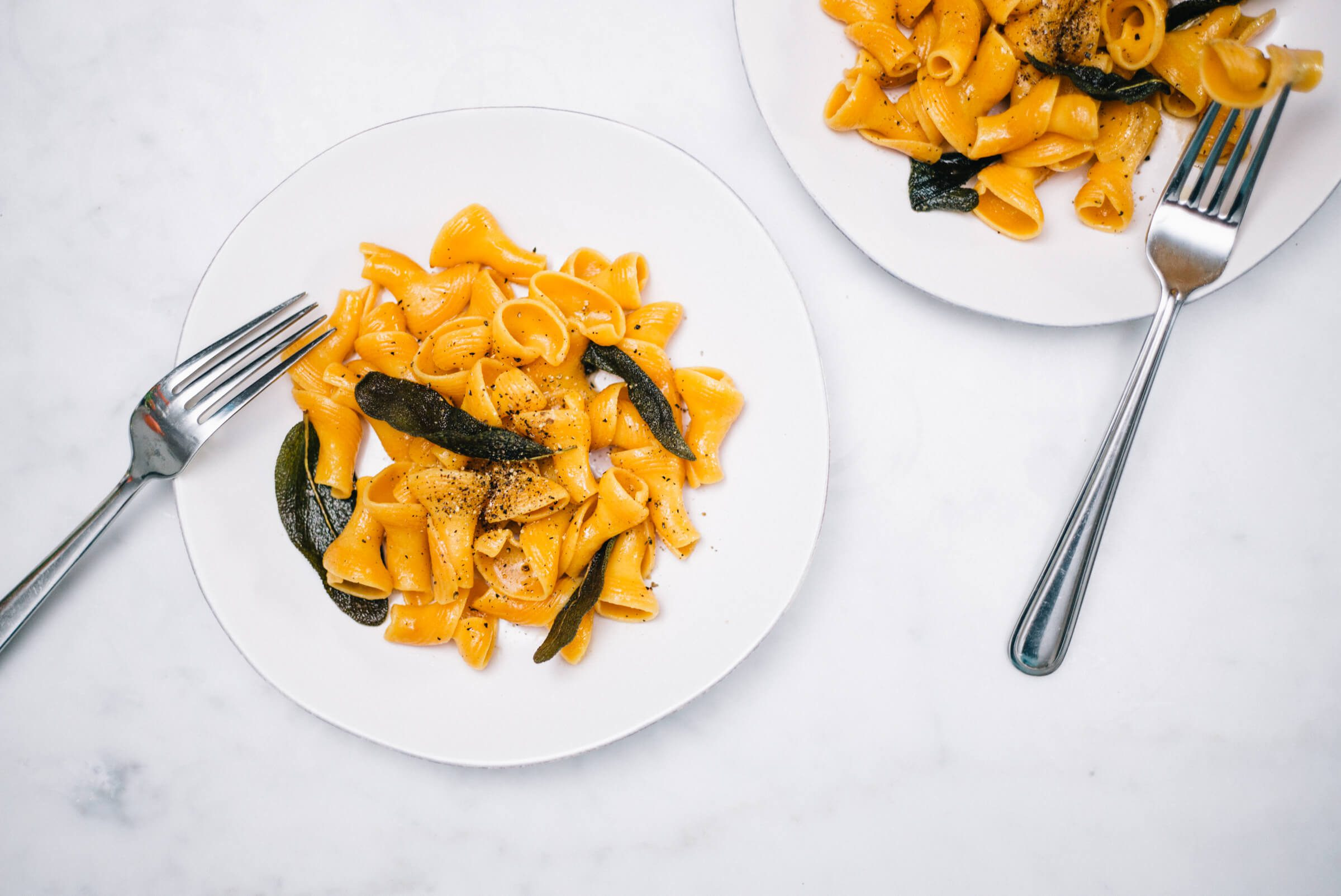 15 minute Pumpkin Pasta with sage and brown butter