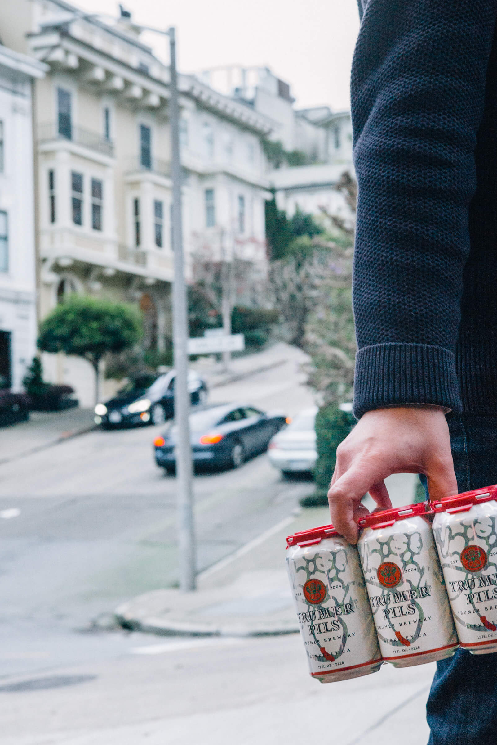 The Taste SF carrying Trumer Pils Cans up the hills of San Francisco