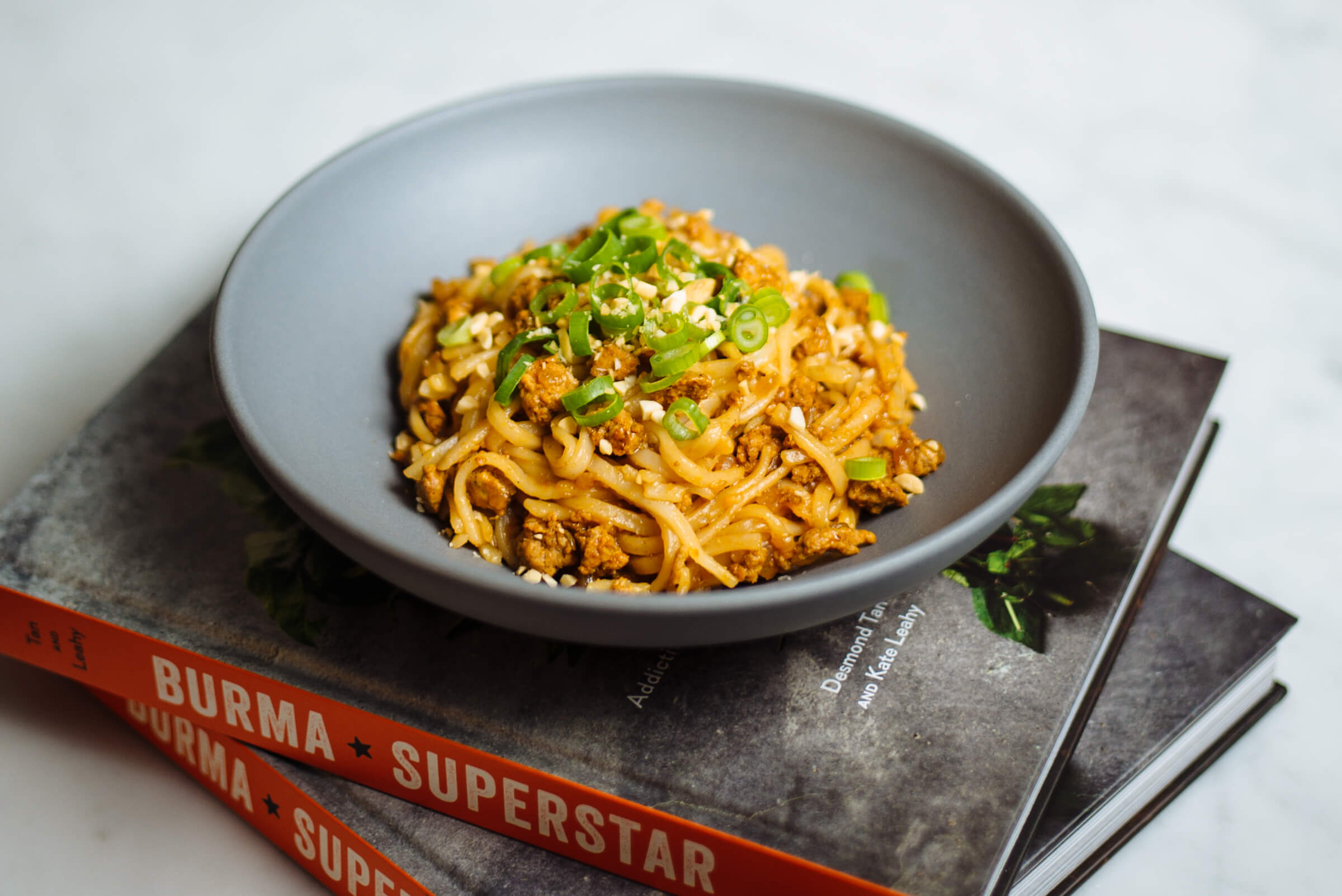 Burma Superstar Shan Noodles Recipe by Desmond Tan and Kate Leahy with five spice powder and chicken