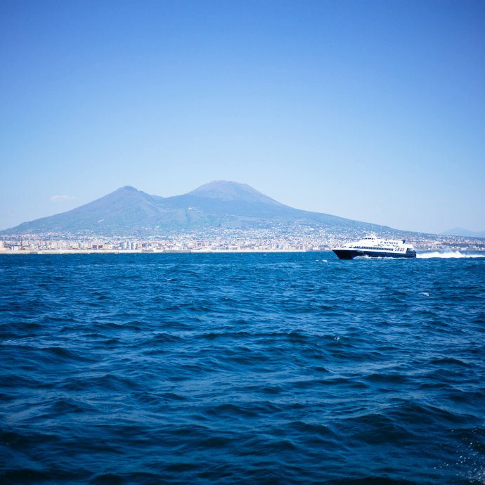Mount Vesuvius from the high speed ferry from Napoli to Capri