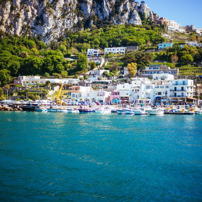 Pulling up to the port at the Isle of Capri, The Taste SF traveling in Italy