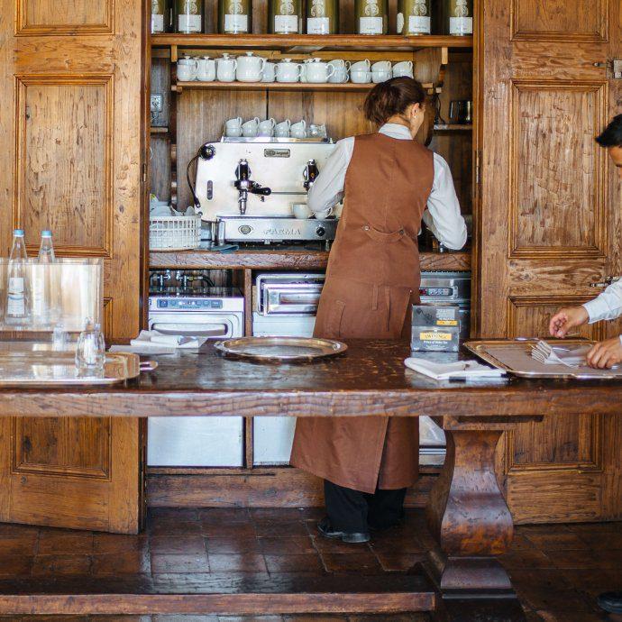 Preparing cappuccino for breakfast at Palazzo Seneca, Norcia Umbria, The Taste SF