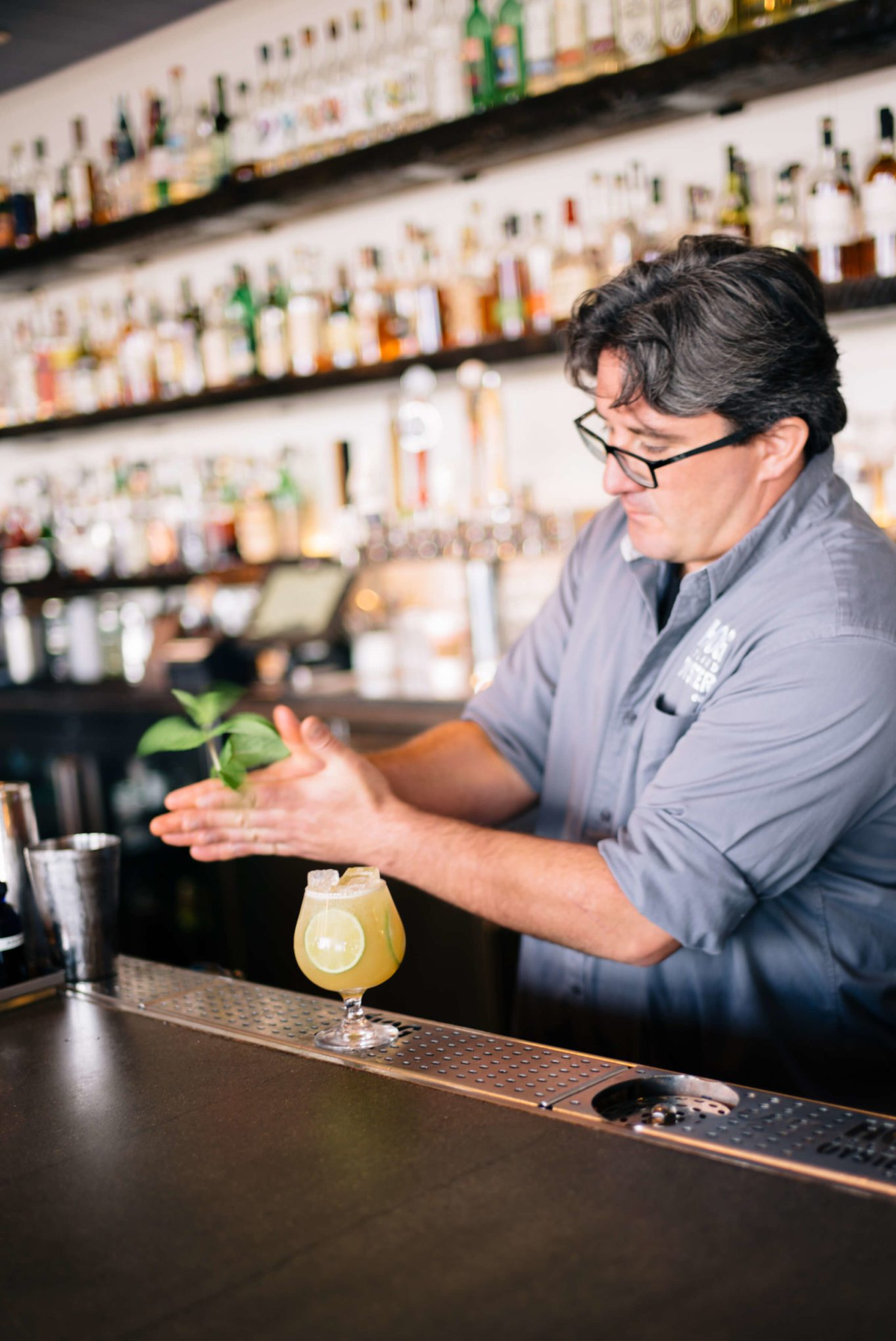 Mint garnish for the Summer Cocktails: Hog Island Saul Ranella Sacred Cenote Mezcal Amaro Cocktail Recipe, restaurant recipe, The Taste SF