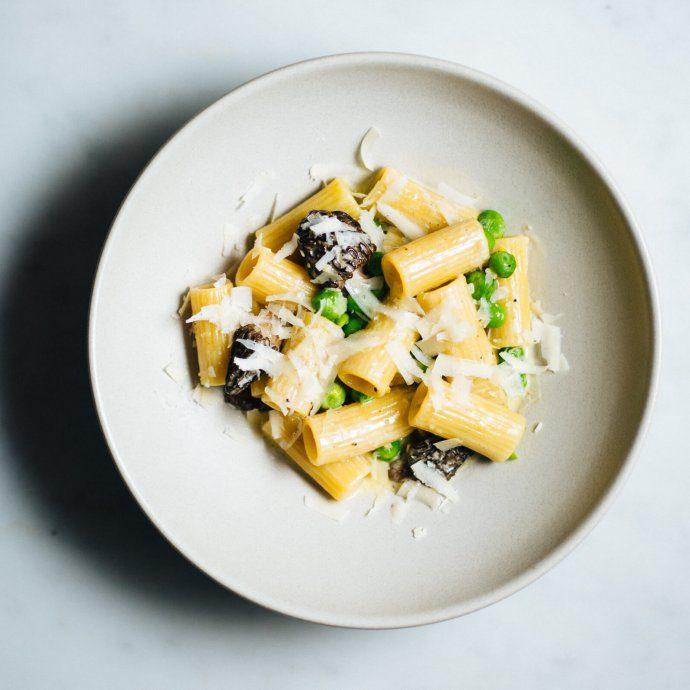 A spring Morel Mushroom Pea Rigattoni pasta recipe from The Taste SF
