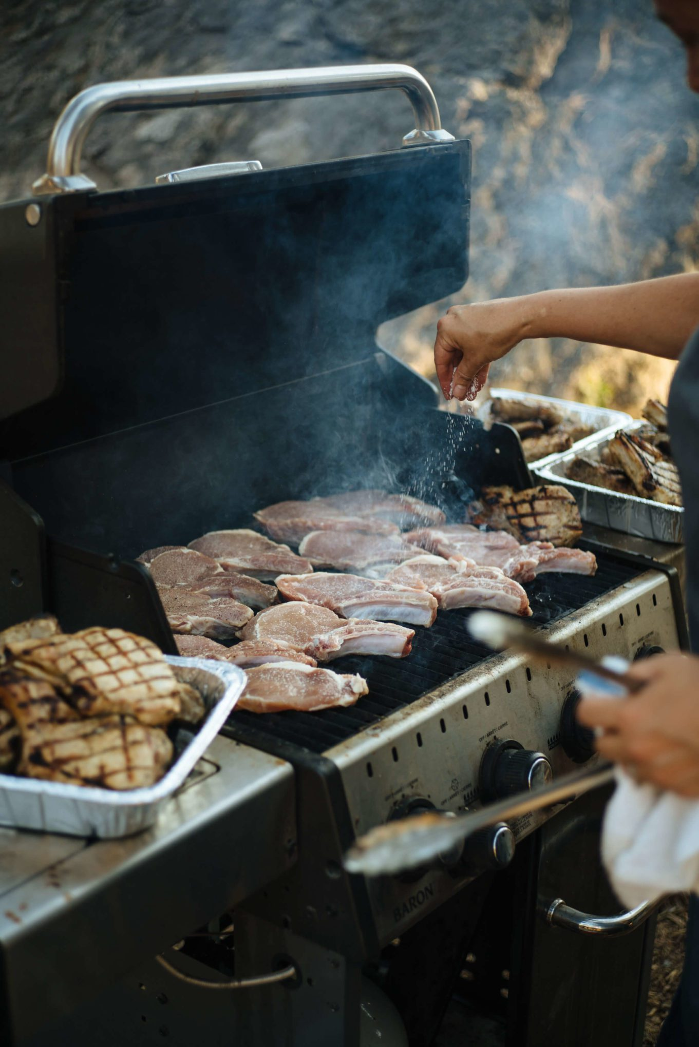 The Taste SF is excited to grill and recommends these grilling cookbooks, grilling tools, and recipes. See how to grill Pork Chops in Montana with Chefs from Ox Restaurant in Portland, Greg Denton and Gabi Denton, at The Resort at Paws Up.