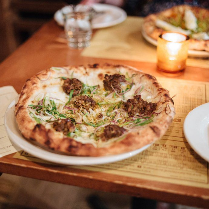 Sausage pizza at Pizzeria Mozza, West Hollywood, LA, The Taste SF