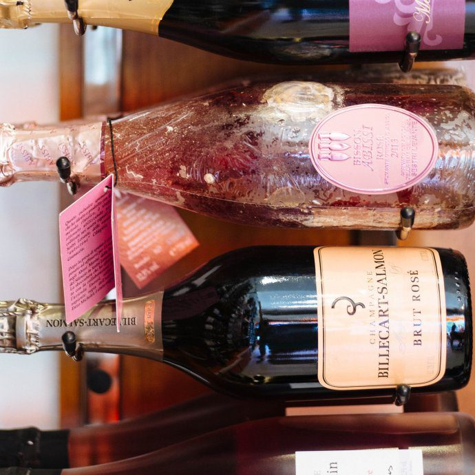 Pink bubbles at Biondivino Wine Shop in San Francisco