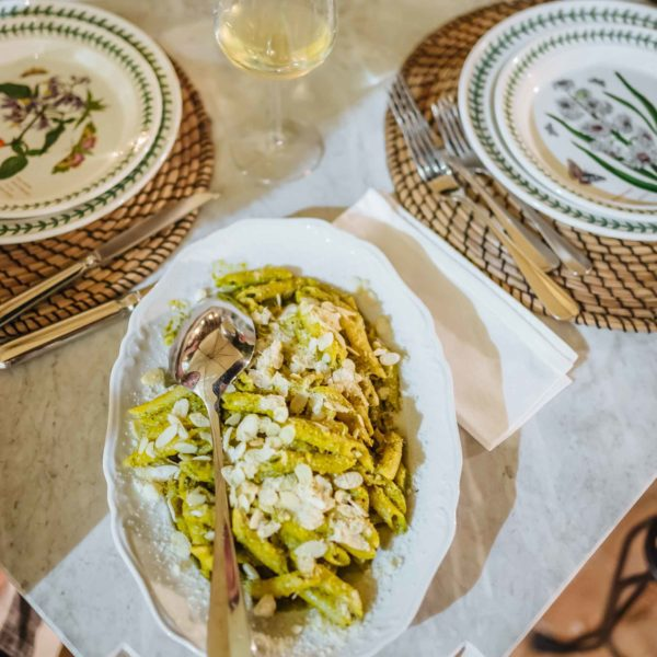 Learn how to make this traditional sicilian pasta recipe Pesto alla Trapanese from The TasteSF who discovered it in Sicily