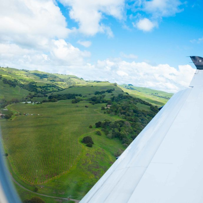 The Taste SF takes in the view of Napa Valley vineyards from the Surf Air plane ride
