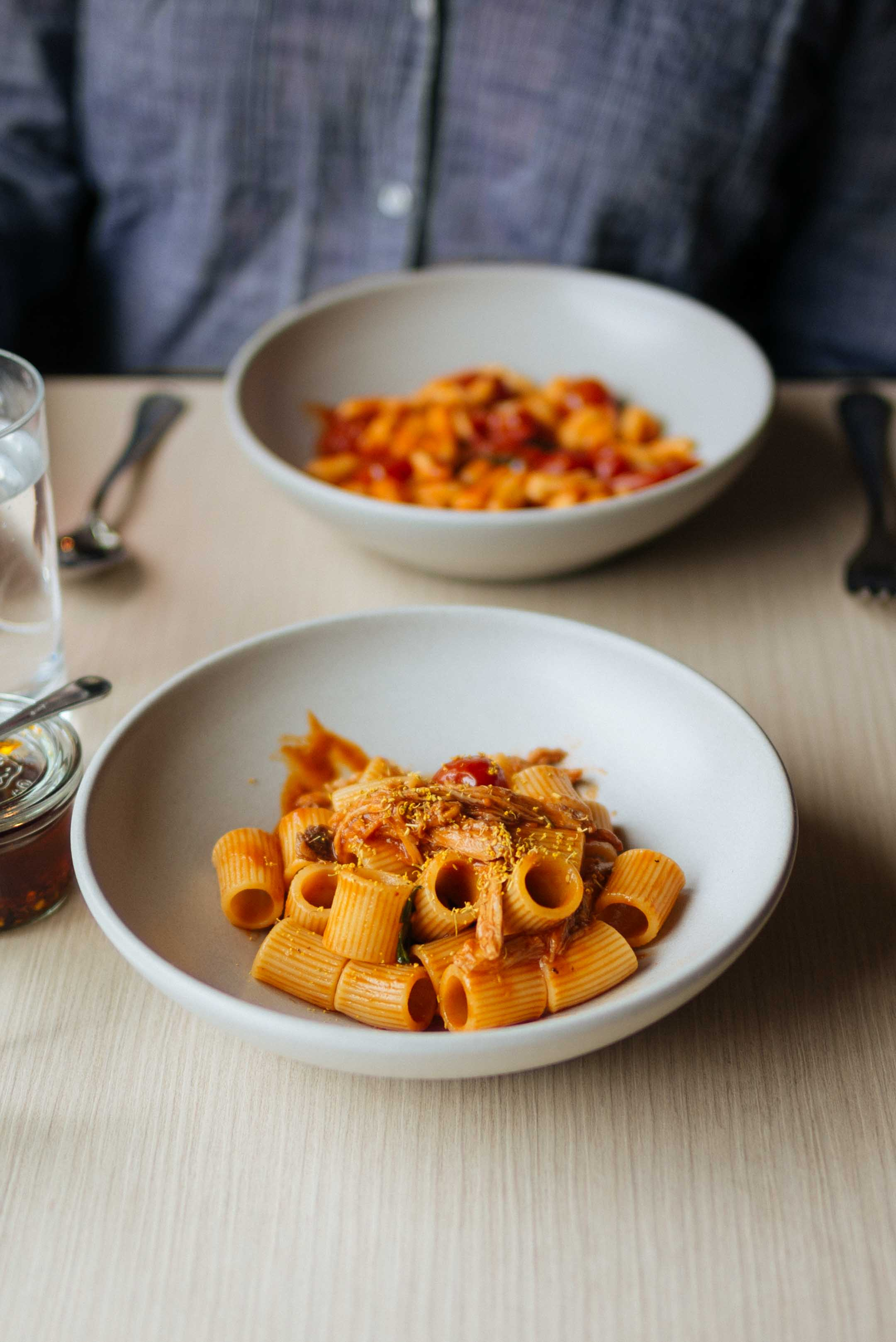 Go to Charlie Bird for the best italain lunch in new york - pick a pasta and a small plate with a glass of wine!